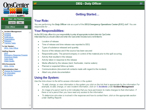 Example page from OpsCenter Environmental Quality configuration